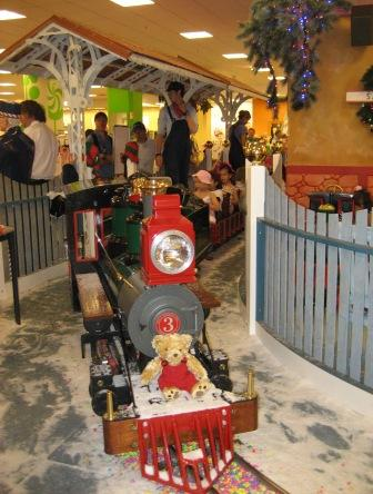 Christmas train in Myer shopping center