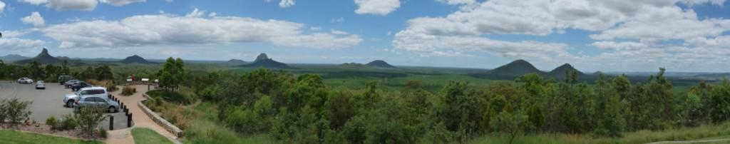 Panorama view Glass House Mountains Lookout.